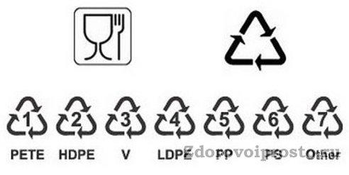 Пластиковая тара, в которой можно хранить мёд, должна иметь значок бокала с вилкой, а также пятёрочки или PP.