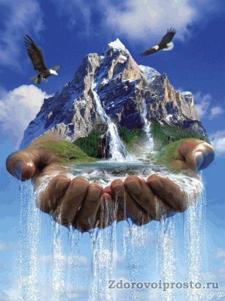 Два в одном - способ, как сделать воду талой, лёгкой и чистой. Орлы и горы, правда, идут отдельно.